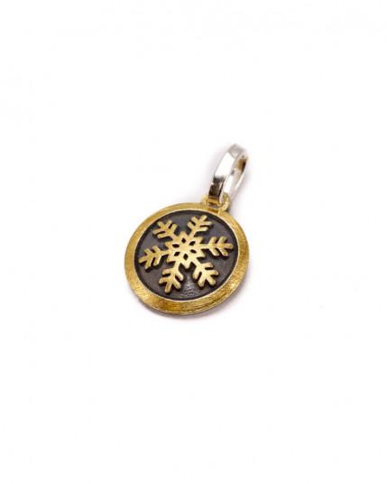 Anhänger mit Schutzengel aus Schichtblech aus Gelbgold und 925 Silber