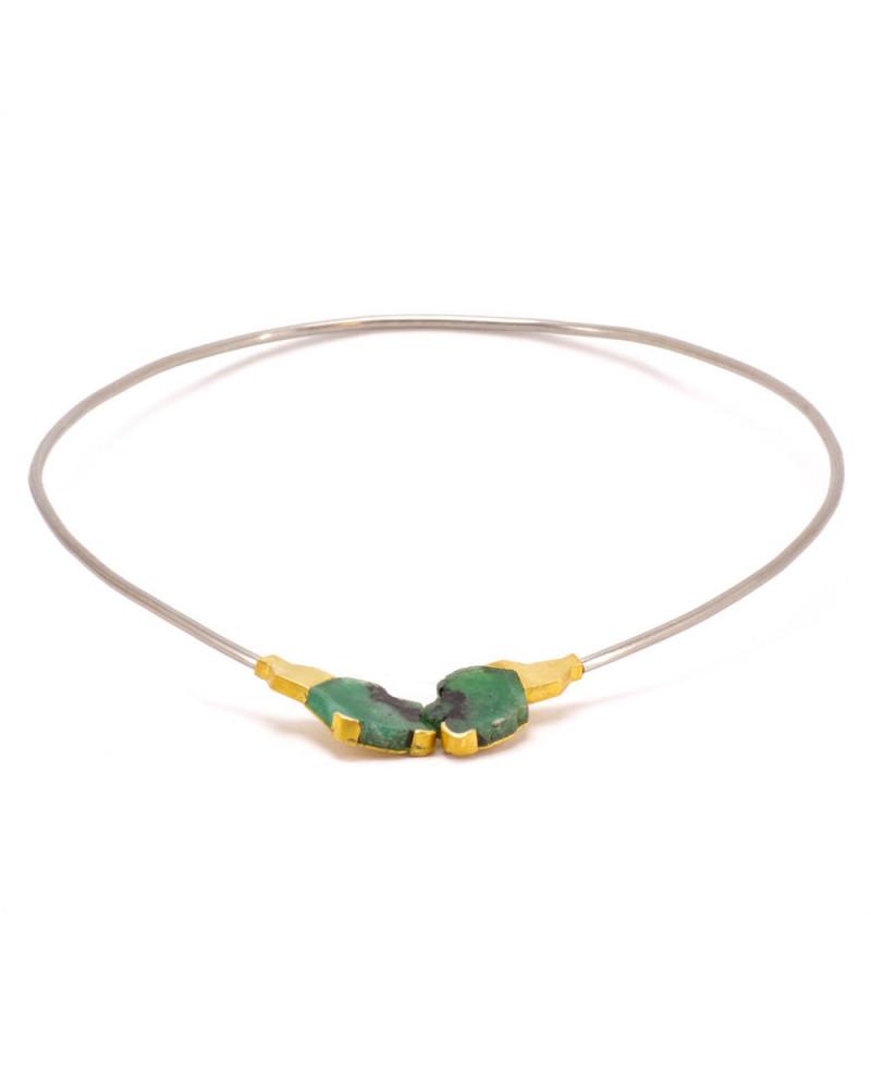 Armschmuck aus schwarzem Edelstahl mit 750 Gold und Edelstahl